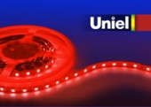 Uniel ULS-3528-60LED/m-8mm-IP20-DC12V-4,8W/m-5M-RED